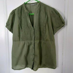 Apt 9 olive green smocked blouse short sleeves 2X